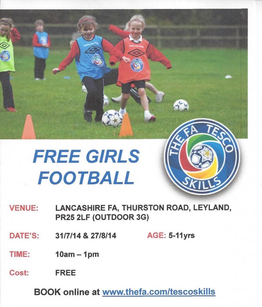 Free Girls Summer Football Lancashire 2014