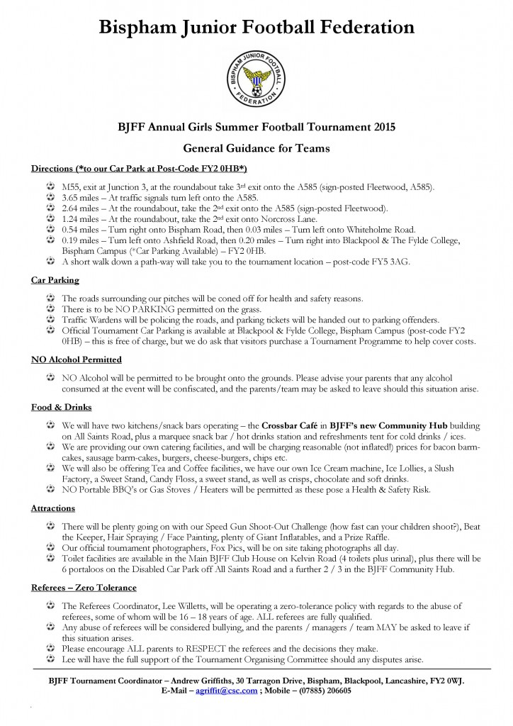 BJFF GIRLS Tournament 2015 - Guidance for all teams