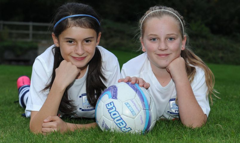 Young Furness football players Kasey Knott (left) and Kate McKenna who have signed for Preston North End. 14/10/2015 JON GRANGER